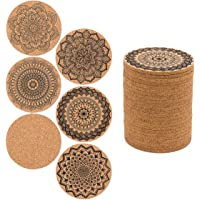 24 PCS Cork Coasters for Drinks Absorbent, 4 inch Reusable Round Cup Mat with 6 Kinds of Mandala Styles for Home Restaurant Office and Bar Drinks
