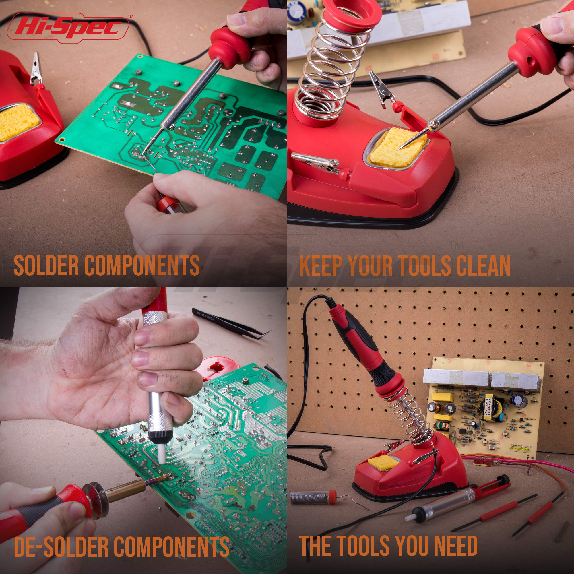 Hi-Spec All-In-One 30W Soldering Station inc. Soldering Iron, Helping Hands & 9pc Accessory Set - Desoldering Pump, Tin Alloy Solder, De-Solder Alloy & 2pc Solder Assist Tools by Hi-Spec (Image #5)
