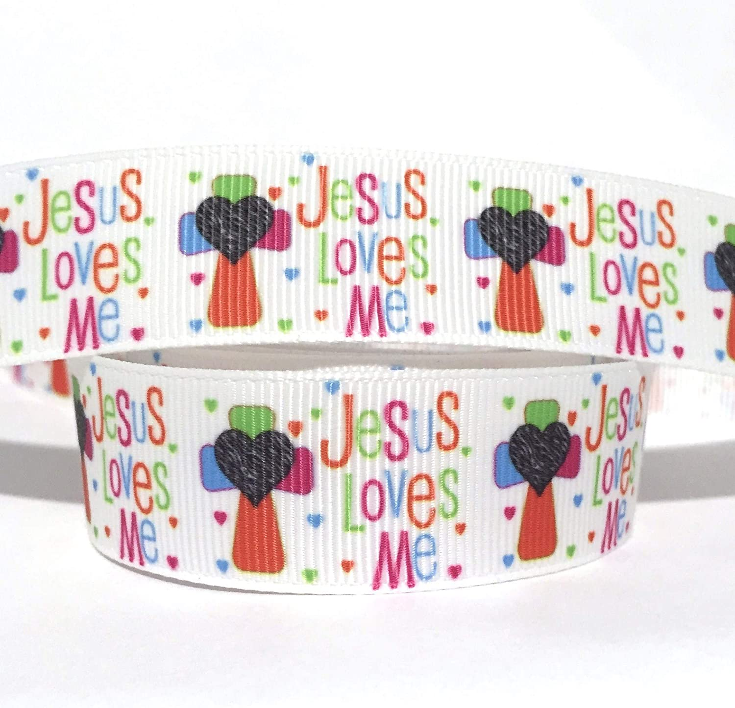 "Grosgrain Ribbon 7//8/"" Jesus Lives! He Lives with Pink Daisy Easter Ribbon"