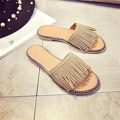 6fd3fdf05e52e8 spyman Plardin Bohemia Summer Casual Women Peep Toe Concise Flat Sandals  New Woman Ladies Tassel Beach