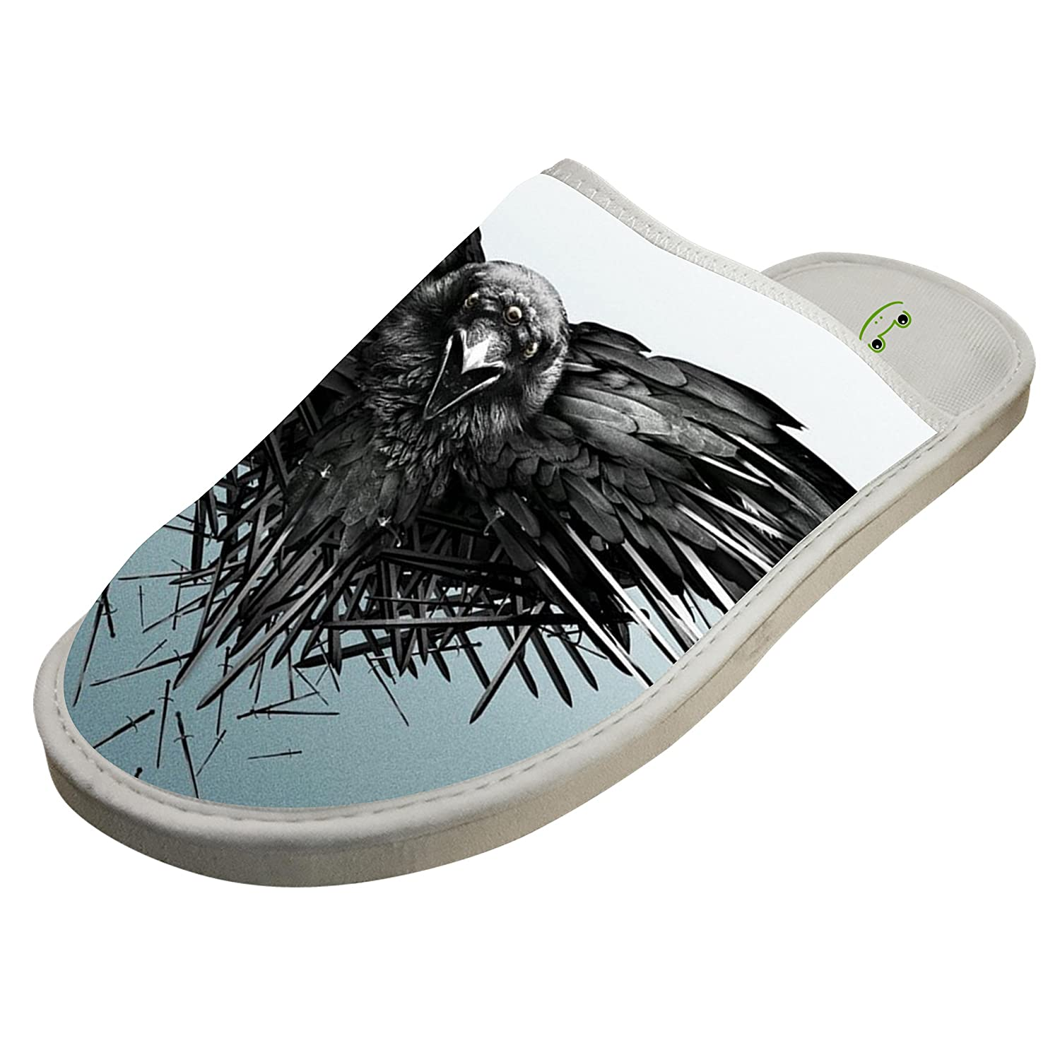 Mens Funny Thorn crow Picture House Slippers