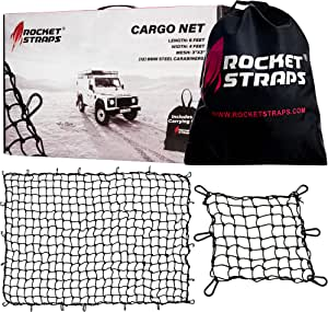 Rocket Straps Cargo Net 4fX6f Stretches to 7.2fX10.5f | Heavy Duty 5mm Tightly Woven 3hX3h Mesh No Gaps in Securing Cargo Loads to Trucks & Trailers | 20 Aluminum Carabiners | Large Carrying Bag