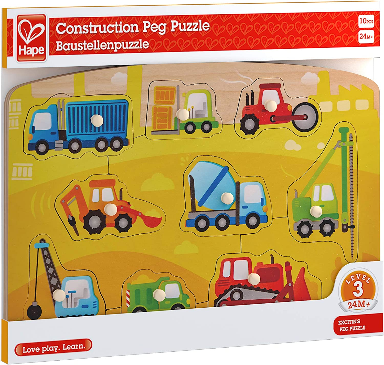 Learning Toy for Toddlers 10 Piece Wooden Peg Jigsaw Puzzle Game Hape Construction Peg Puzzle