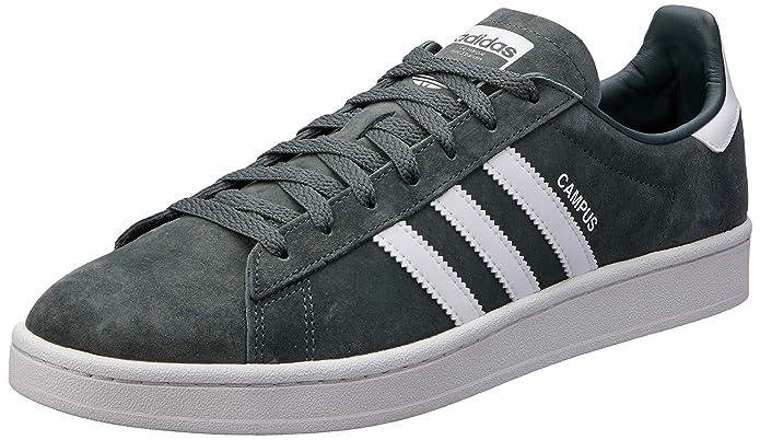 Olivgrüne Herren adidas Campus Schuhe mit weißen Streifen