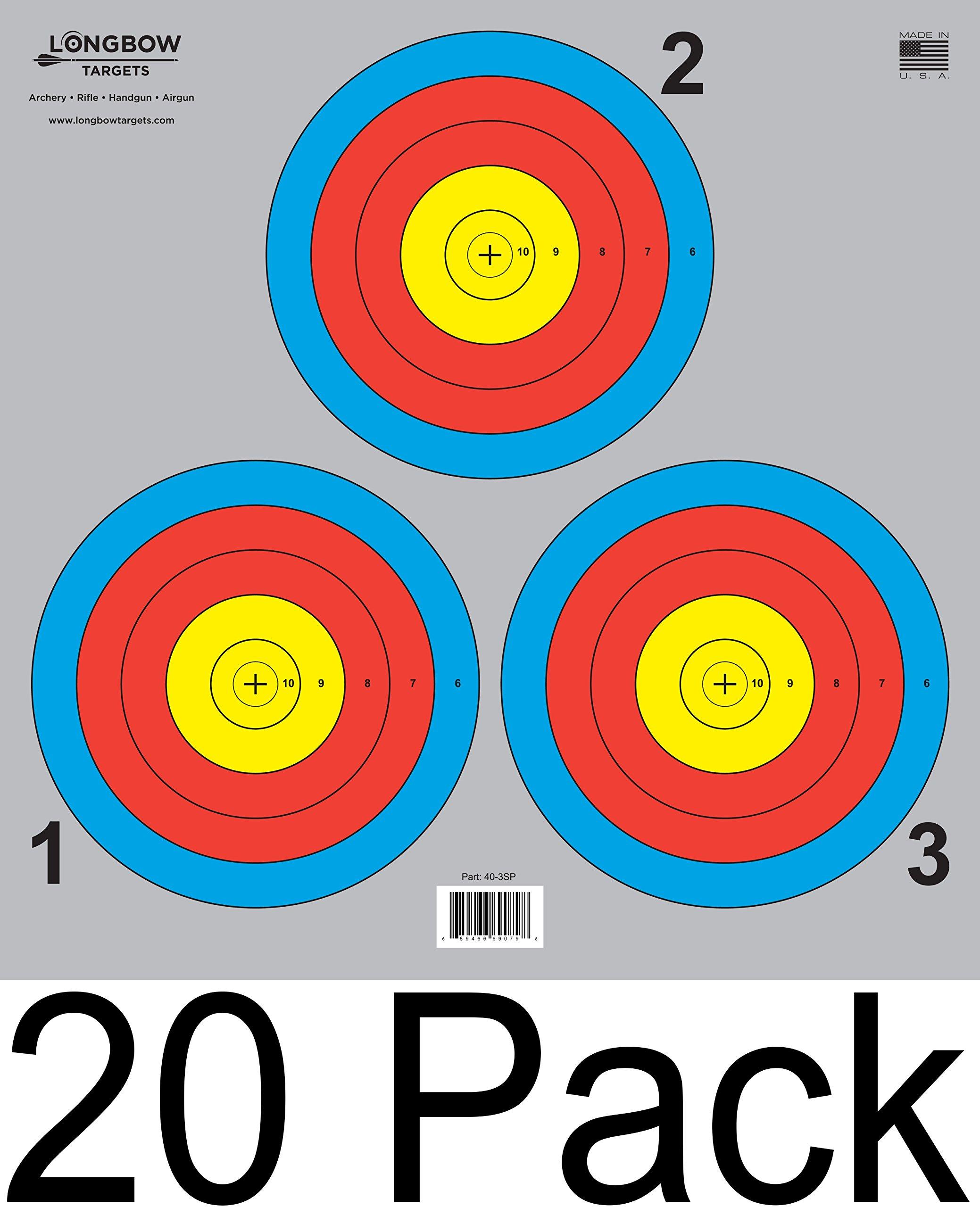 Archery 5 SPOT & 3 SPOT Vegas Targets by Longbow 8, 20, 50 & 200 Packs (3 Spot (20 Pack))