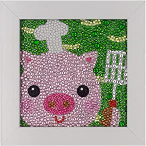 ParNarZar Pig Chef Walk The Balloon Diamond Painting Easy Art Crafts Kits for Kids Beginners Girls DIY Creativity with Frame 6x6inches
