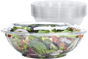 Disposable Plastic Serving Bowls with Lids [10 Pack - 64 oz.] - Large Clear Containers for Salads, Snacks and Cold Side Dishes. Perfect for Picnics or as a To-Go Bowl