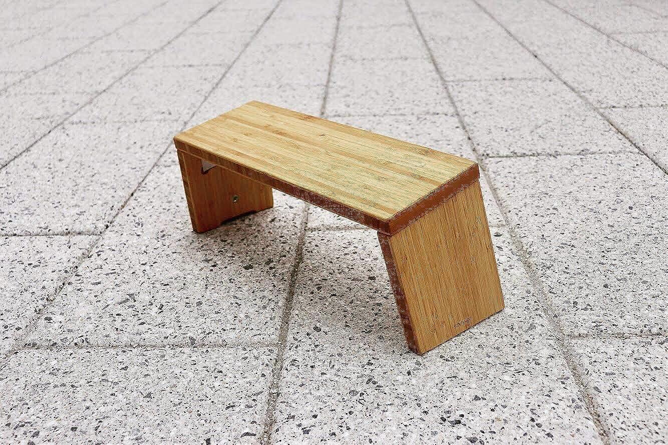 STOOLYOGA Portable Meditation Bench, Finished Bamboo, Folding Legs, Low Seat, Kneeling Alternative to Meditation Cushion for Yoga, Prayer, and Meditation – Made in USA