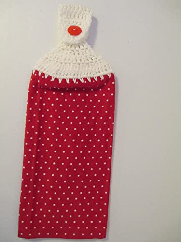 Amazon Com Crocheted Red And White Polka Dot Kitchen Towel With
