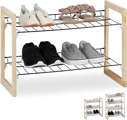 Relaxdays Zapatero Recibidor, Estantería Zapatos, Organizador 2 Baldas, Madera-Hierro, 1 Ud, 39x57,5x29 cm, Marrón-Negro