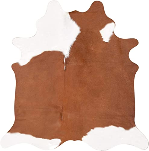 A-Star Western Best Cow Hides Area Rug, Brown White 5 x 4