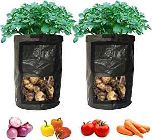 2-Pack Black Garden Potato Grow Bags Durable Plant Growing Bags Outdoor/Indoor Vegetables Bags with Handle Access Flap Waterproof Container Bags (2-Pack/Black) (7 Gallon)