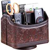 PUSU Leather 360°Rotatable Remote Control Holder,Nightstand TV Remote Caddy,Office Supplies Desktop Organizer,Spinning…