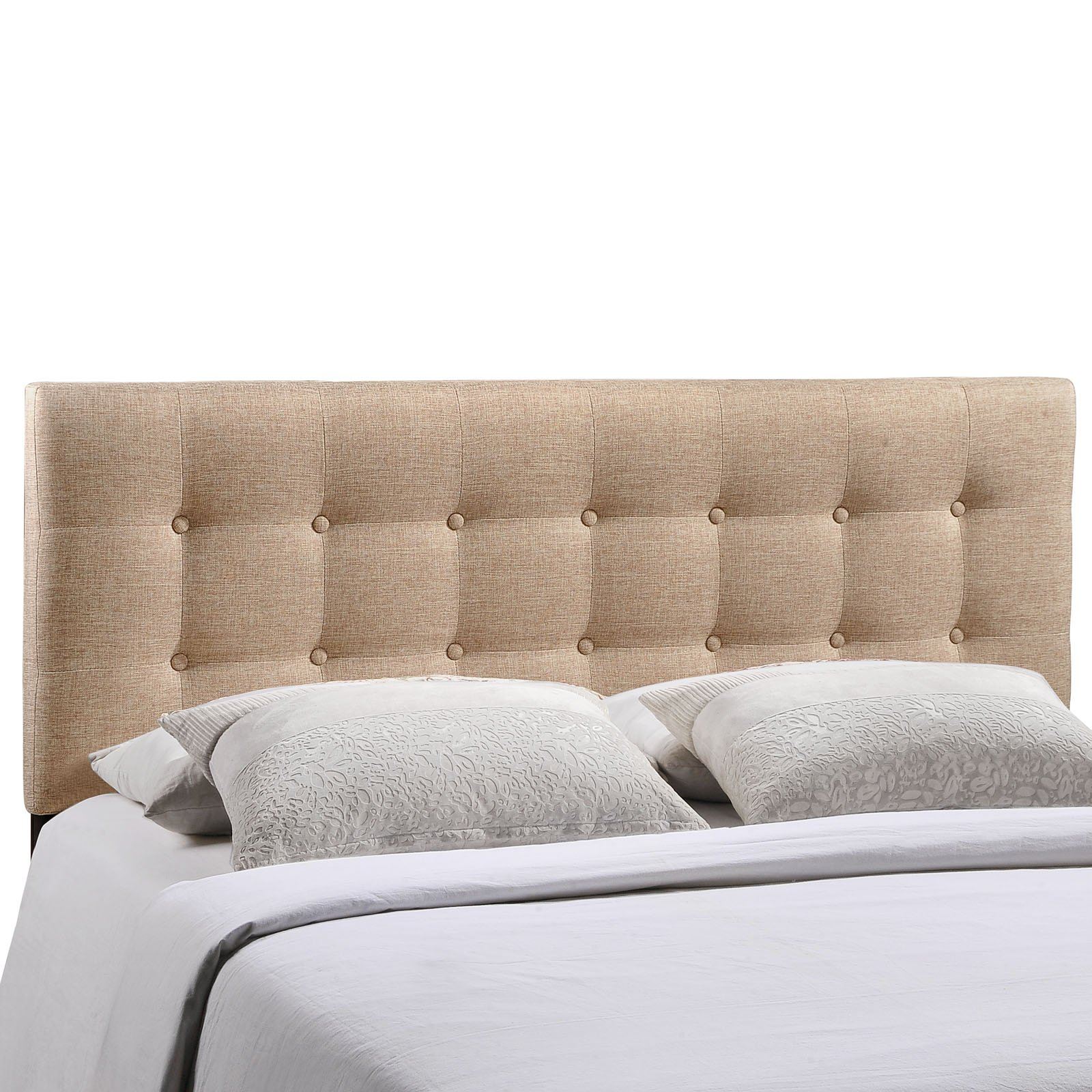 Modway Emily Upholstered Tufted Button Fabric Queen Size Headboard In Beige