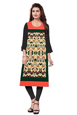 923706f555e Belomoda Black Color Heavy American Crepe Fabric 3 4 sleeve Round Neck  Digital Print Kurti For Women  Amazon.in  Clothing   Accessories