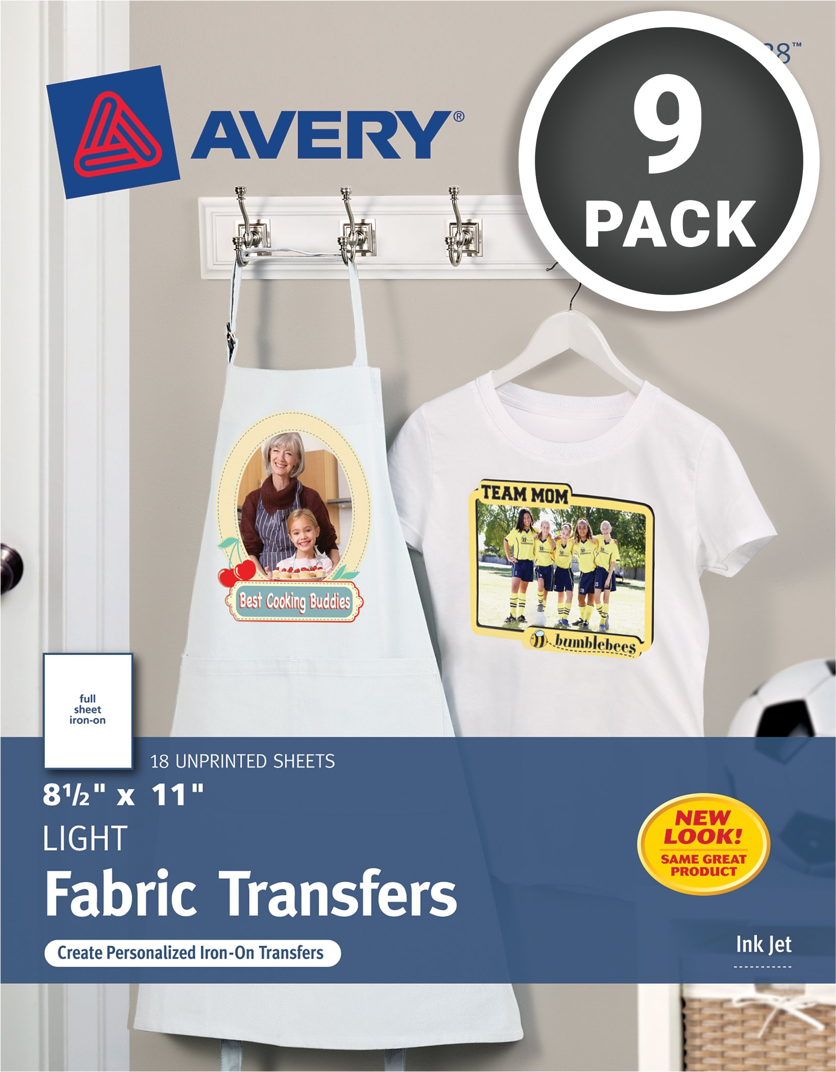 Avery T-shirt Transfers for Inkjet Printers, light-colored, 8.5 x 11'', Pack of 9 (8938) by Avery