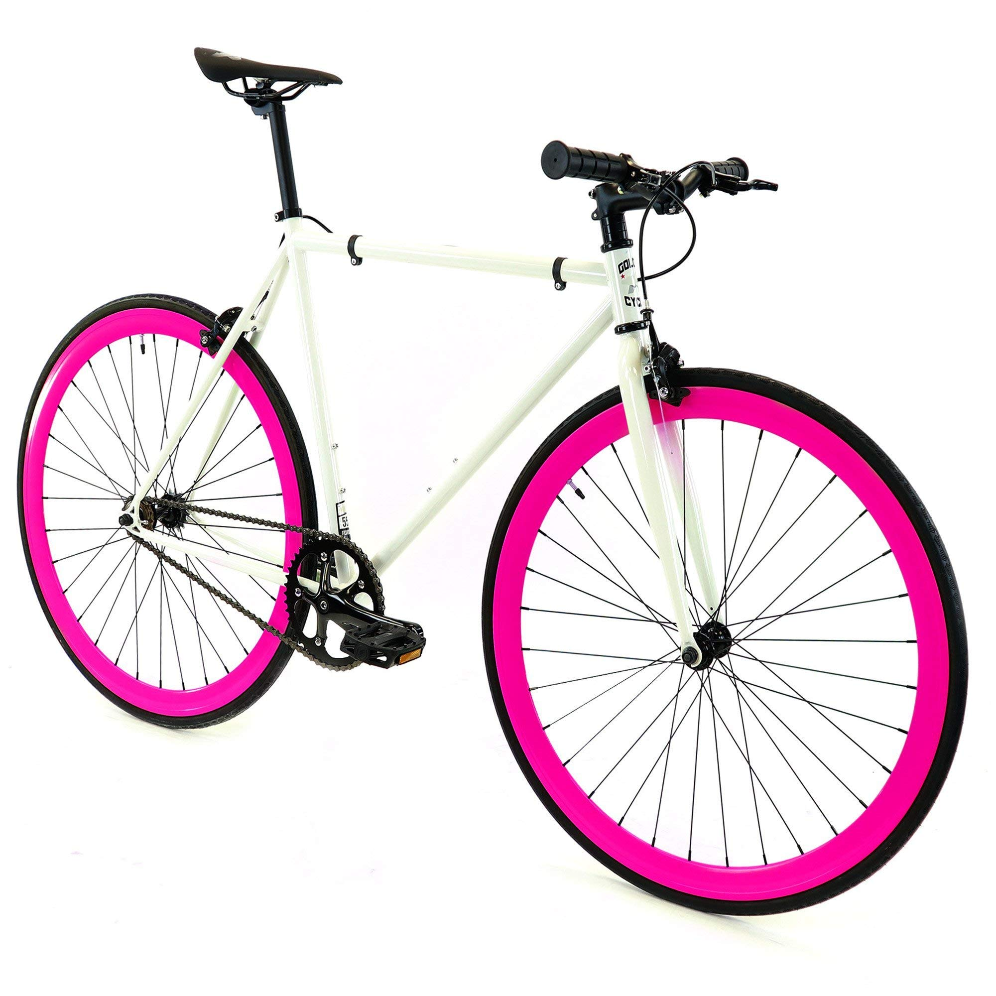 Golden Cycles Single Speed Fixed Gear Bike with Front & Rear Brakes (Dahlia, 41)