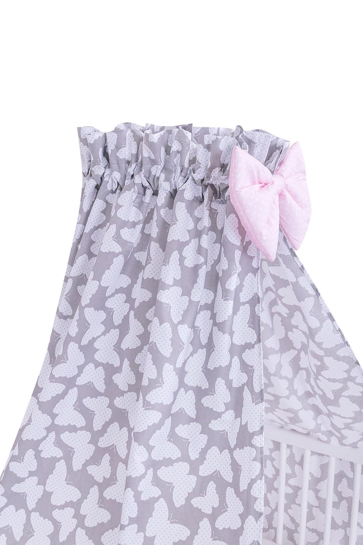 Amilian/® Vollstoffhimmel Himmel mit Schleife Betthimmel Schmetterling Grau Vollstoffhimmel