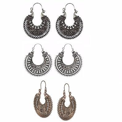 7918f6293 Amazon.com: Efulgenz Oxidized Silver Hoops Boho Vintage Retro Tribal  Tibetan Gypsy Dangle Indian Bollywood Ethnic Earrings Love Gift (Combo 1):  Jewelry