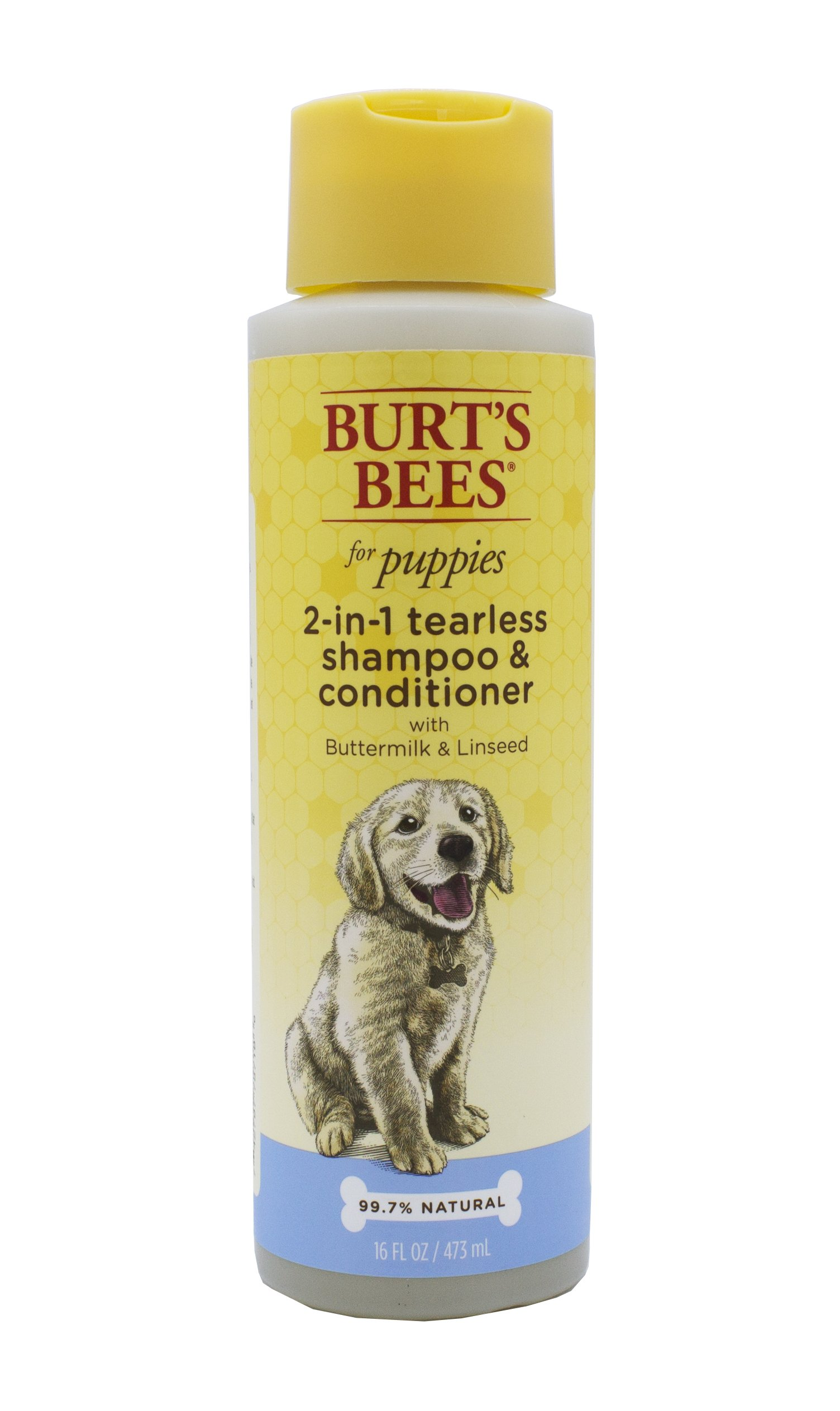 Burt's Bees for Pets for Puppies Tearless 2 in 1 Shampoo and Conditioner with Buttermilk and Linseed Oil | Dog Shampoo, 16 Ounces, All-Natural Tearless 2 in 1 Puppy Shampoo and Conditioner with Buttermilk and Linseed Oil | Best Tear-Free Shampoo and Conditioner for All Dogs and Puppies for Gentle Fur