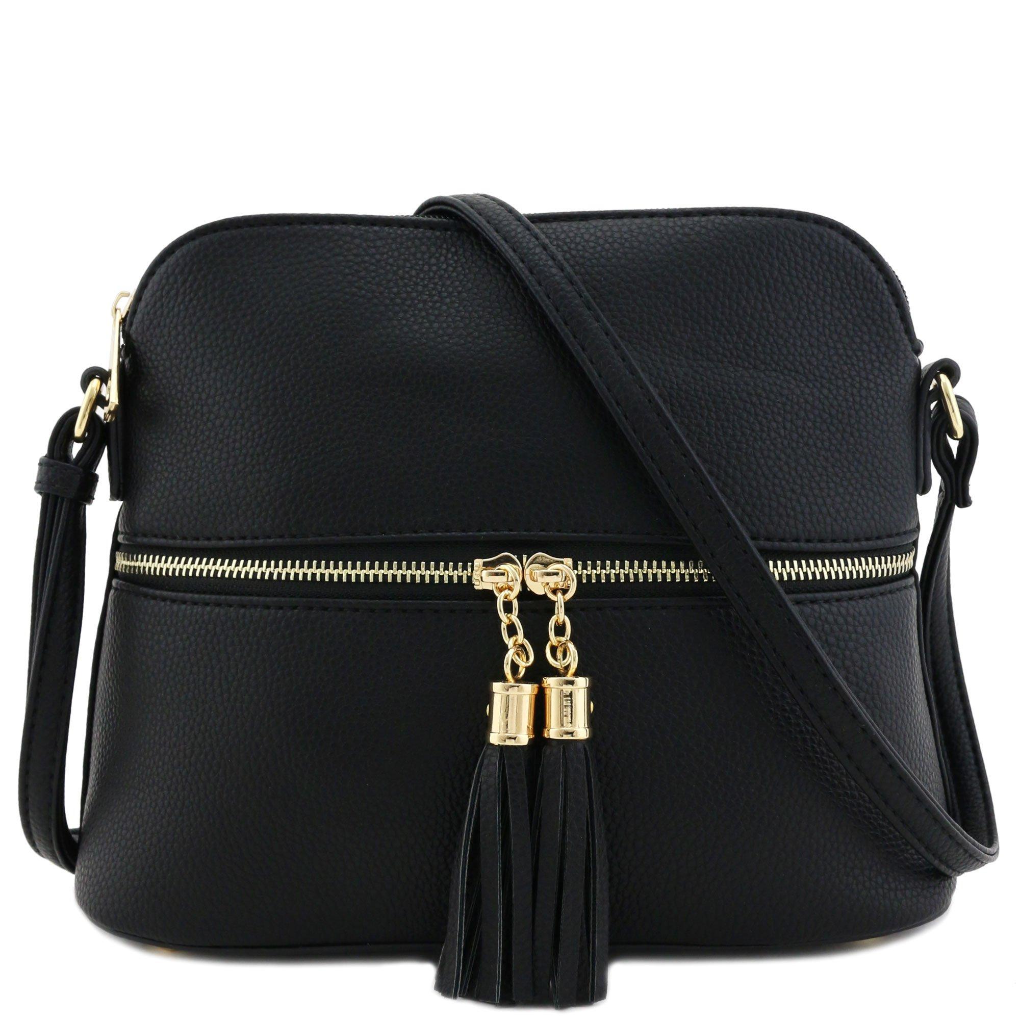 Tassel Zipper Pocket Crossbody Bag Black