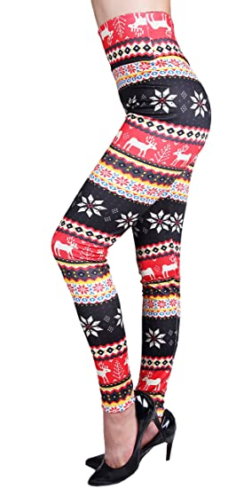 85c33a0605599 IRELIA Winter Womens Warm Printed Fleece Lined Leggings High Waist Tights -  Regular and Plus Size
