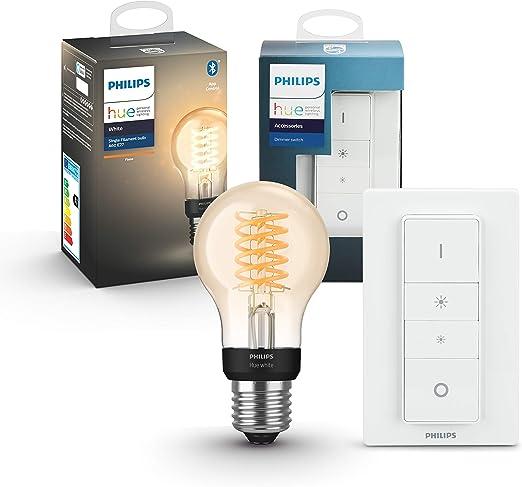 Philips Hue White Filament E27 LED Lampe inkl. Dimmschalter