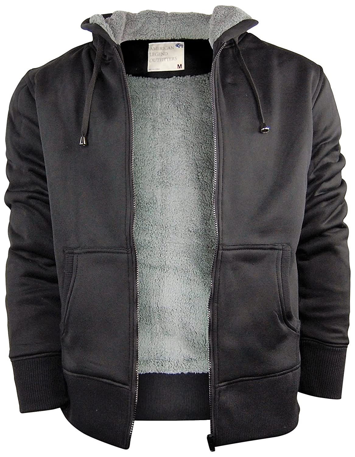 Mens Zip Up Hoodiehooded Jacket With Fleece Lining Soft And Warm Sherpa Lined Large Black
