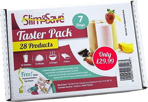Slim & Save - Pack de prueba para dieta Simplicity - 1 semana - Con manual y cinta métrica - 28 sabores distintos