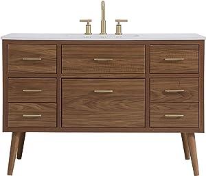 Elegant Decor 48 Inch Bathroom Vanity in Walnut Brown
