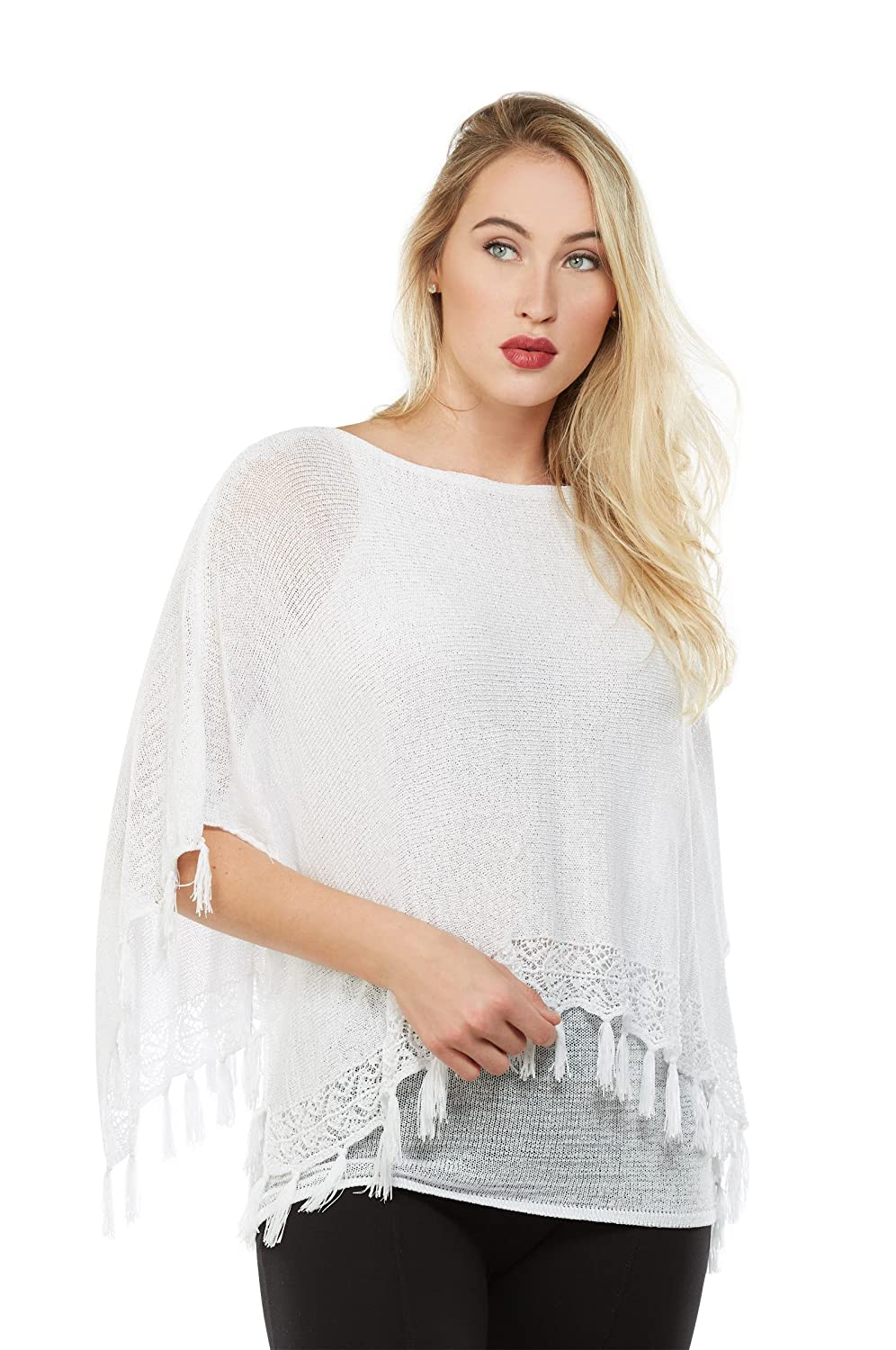 Plus Tassel Trim Poncho Top Nygard 3B491746
