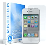 3x Apple iPhone 4 / 4S Displayschutzfolie, Displayschutz I von EAZY CASE I Schutzfolie, Displayfolie aus gehärtetem 2,5D Panzerglas (nur 0,05 mm dick), transparent/kristallklar