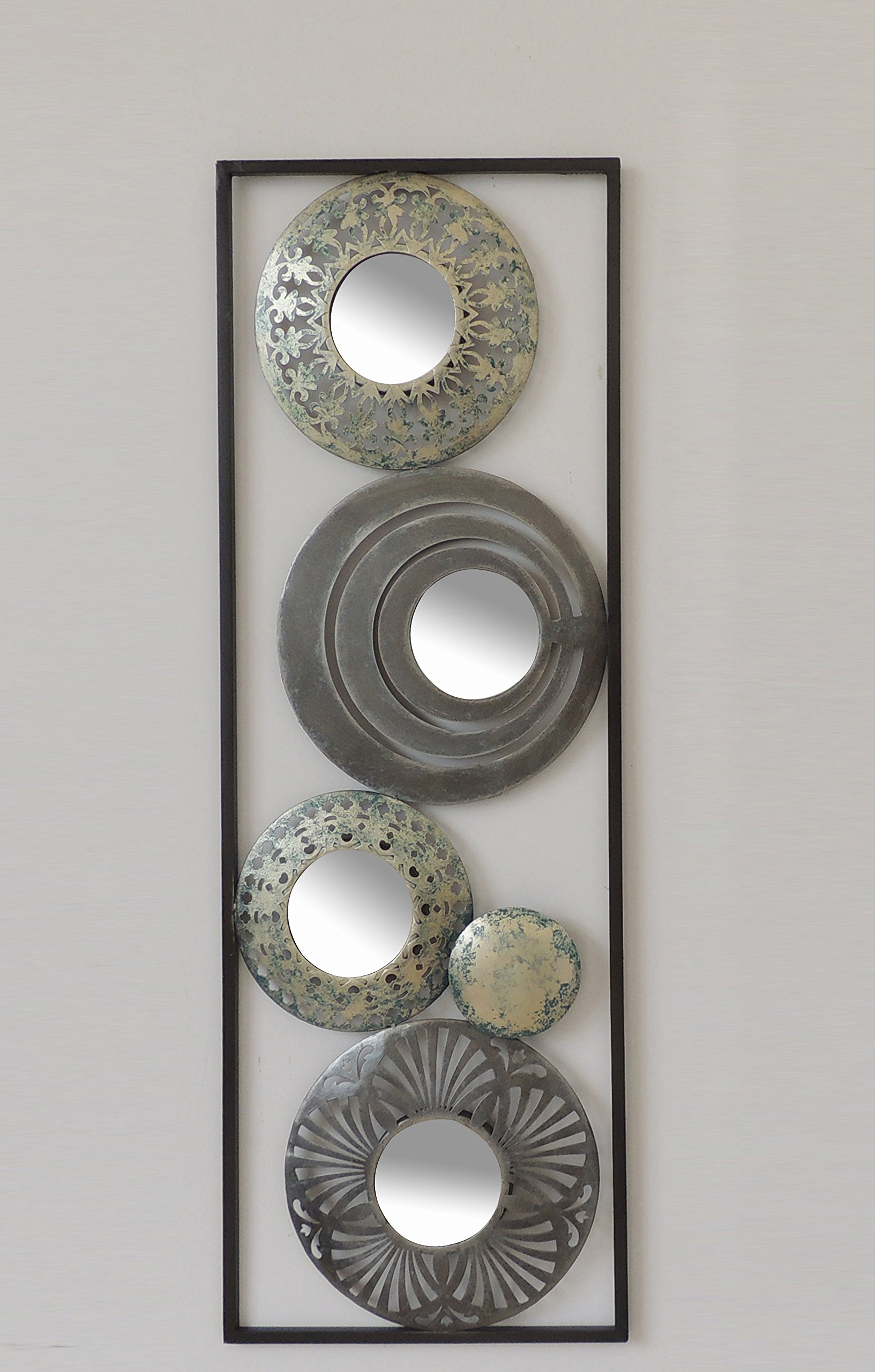 New All American Collection Modern Chic Aluminum/Metal Wall Decor with Frame 12''x36'' (Cirlcels and Mirrors) by All American Collection