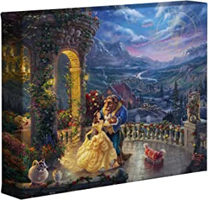 Thomas Kinkade Studios Beauty and the Beast Dancing in the Moonlight 8 x 10 Gallery Wrapped Canvas
