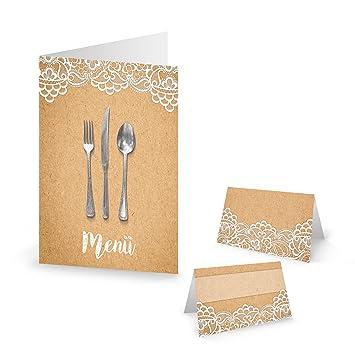 Set de 10 tarjetas de menú + 25 tarjetas de papel de estraza ...