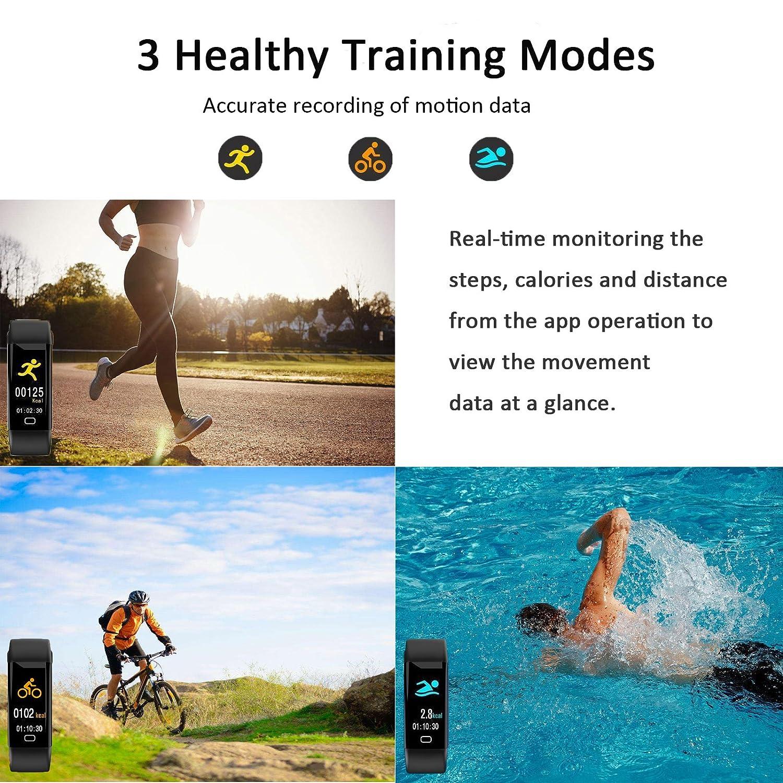 HDTOSNER Pulsera Inteligente, Impermeable IP68 Pulsera Actividad, Bluetooth 4.0 Fitness Tracker Con Ritmo Cardíaco, Presión Arterial y Oxímetro, ...