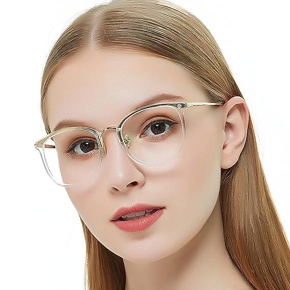 94e1bf97f1e8 OCCI CHIARI Non Prescription Round Optical Eyewear Frames Fashion Clear  Lens Glasses For Women 49mm (
