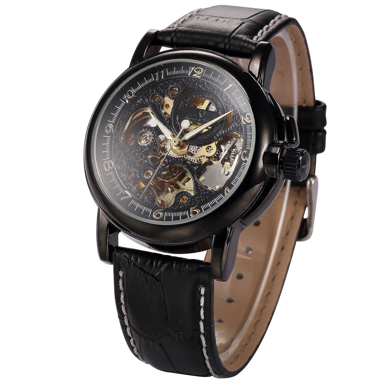 Mix & Rock KSメンズレトロスケルトン自動機械ブラックレザーアナログスポーツ腕時計 B011L3N51U