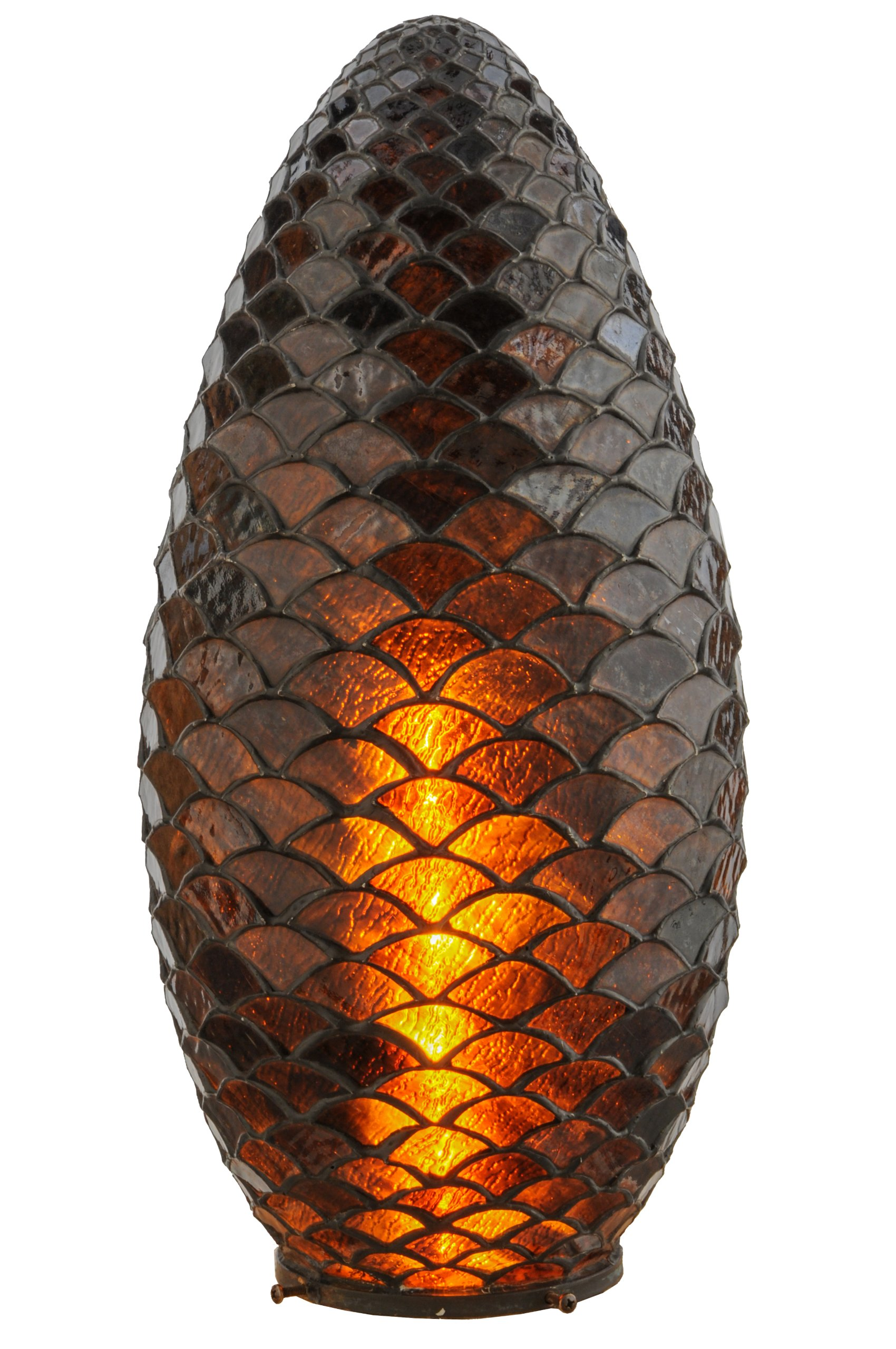 Meyda Home Decorative Art Stained Glass Lamp Fixture9.5''W Tiffany Pinecone Replacement Shade