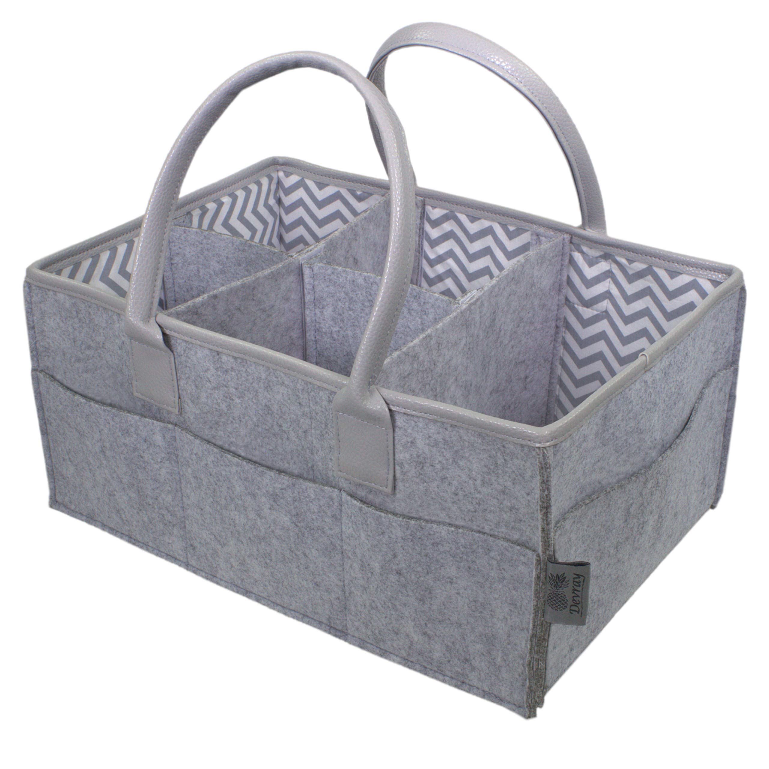 Baby Diaper Caddy Organizer by Devray | Nursery Storage Bin | Grey Leather Pu Handles and Top Trim with 5 Compartments