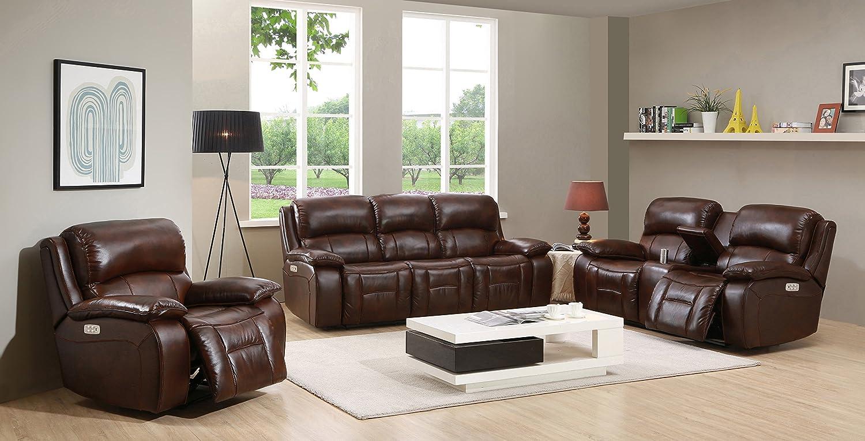 Bon Amazon.com: Amax Leather   Westminster II Leather Power Reclining 3 Piece Sofa  Set With Power Headrest: Kitchen U0026 Dining