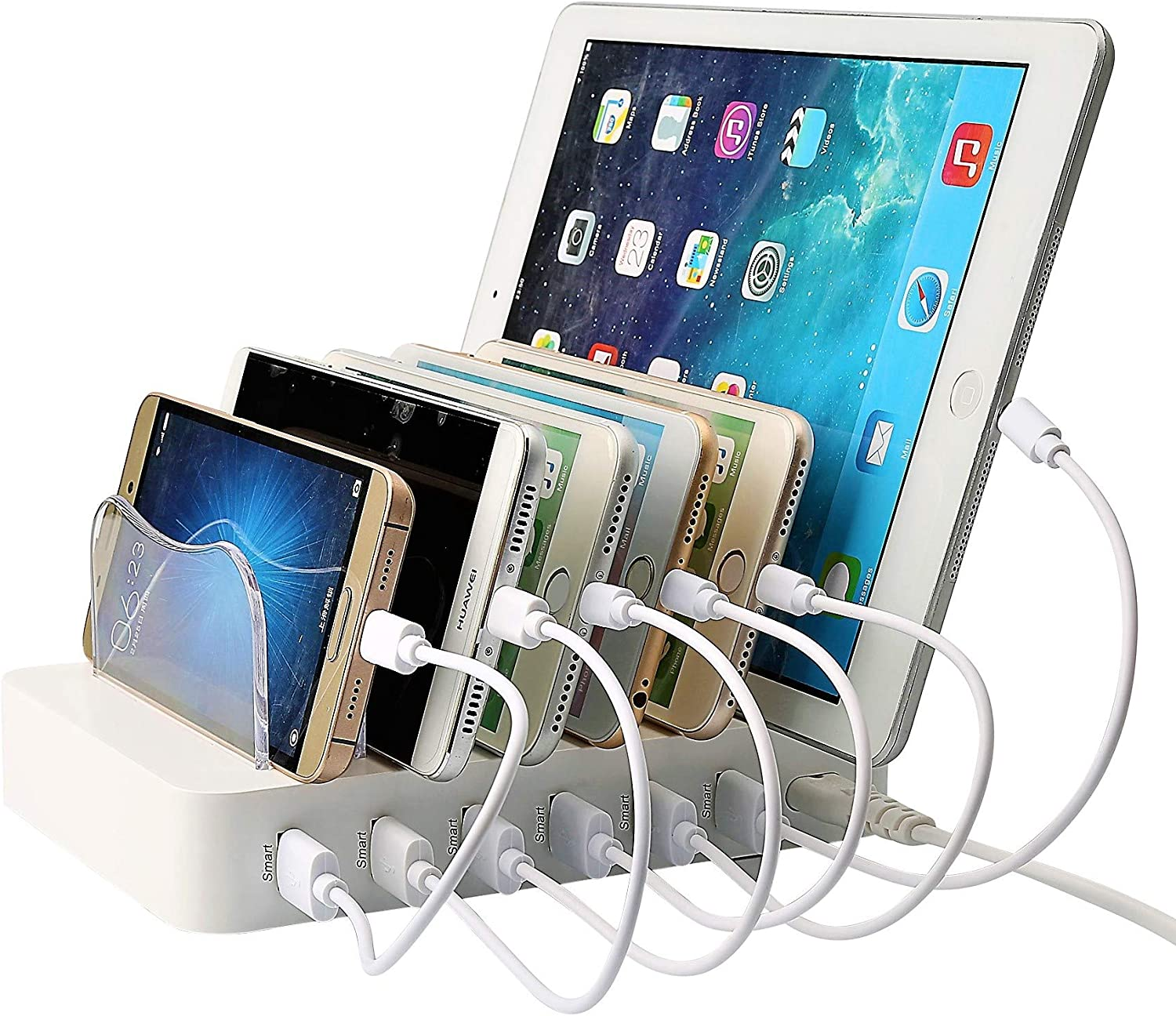 Marshon Watt 6-USB Port Fast Charging Station for Multiple Devices--Premium-Grade--Organize All Your Charging Needs--Charger Station Includes Short Cables Compatible with Apple and Android Devices