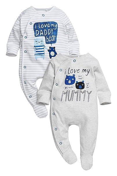next Bebé Niño Pack De Dos Pijamas Tipo Pelele con Personaje De Papá Y Mamá (0 Meses - 2 Años) Azul/Crudo 1.5-2 años: Amazon.es: Ropa y accesorios