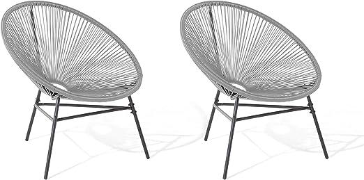 Beliani Conjunto de 2 sillas de jardín Gris Claro Acapulco ...