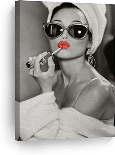 SmileArtDesign Audrey Hepburn Style Wall Art Red Lips Canvas Print Lipstick Makeup Iconic Pop Art Beauty Black and White Wall Art Living Room Vintage Wall Decor Ready to Hang Made