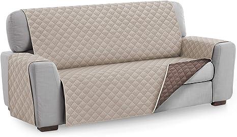 Textilhome - Funda Cubre Sofá Malu, 4 Plazas, Protector para Sofás Acolchado Reversible. Color Beige C/7: Amazon.es: Hogar