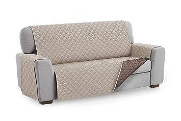 Textilhome - Funda Cubre Sofá Malu, 4 Plazas, Protector para Sofás Acolchado Reversible. Color Beige C/7