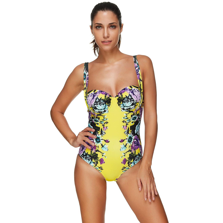 7167c0ca48043 Amazon.com  BaronHong Women One Piece Swimsuit Bathing Suits Sexy Swimdress  Floral Bikini  Clothing