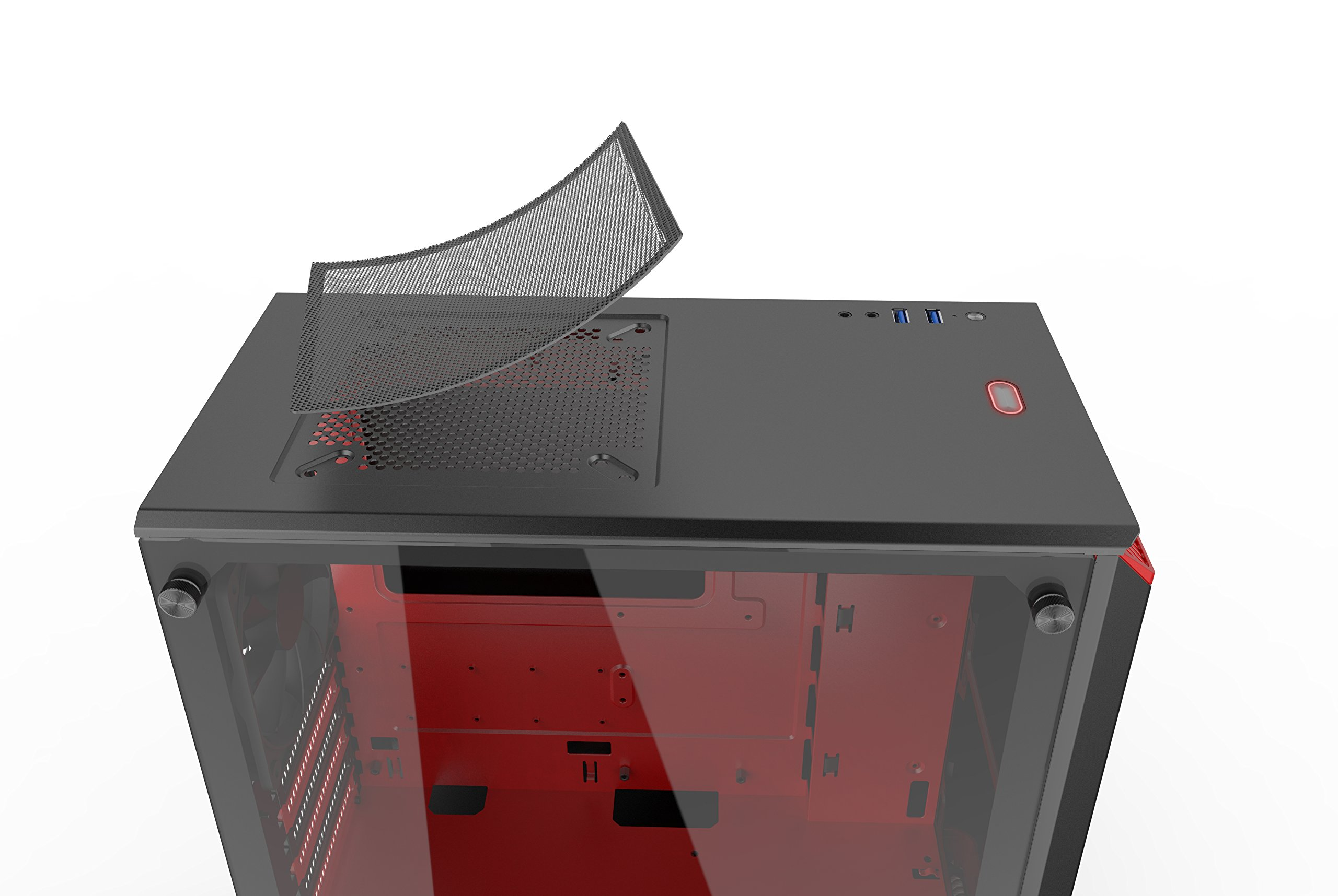 Phanteks PH-EC300PTG_BR Eclipse P300 Tempered Glass Steel ATX Mid Tower Case Black/Red by Phanteks (Image #7)