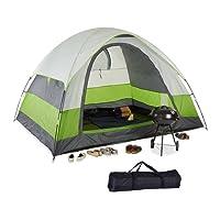 Relaxdays Campingzelt, für 4-5 Personen, Wasserabweisend, kompaktes Packmaß, UV 30+, H x B x T: 180 x 300 x 240 cm, Grün